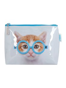 Catseye Grey medium cat cosmetic bag