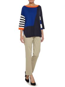 Max Mara Festoso printed colour block kintted silk jumper