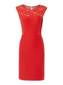 Red lace jersey shutter dress