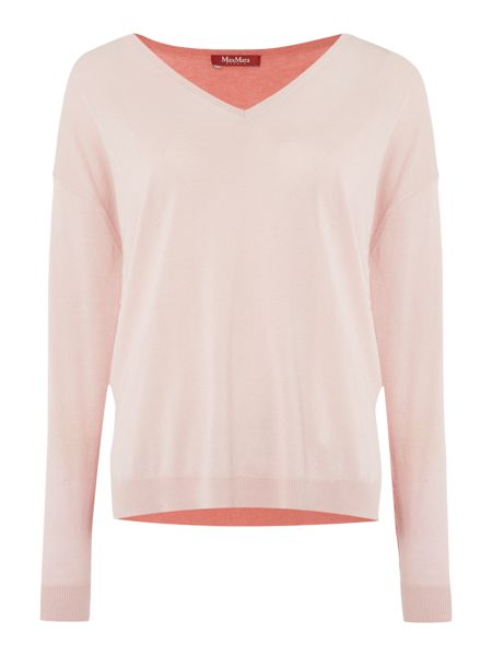 Max Mara Tenuta contrasting colour v neck silk mix jumper