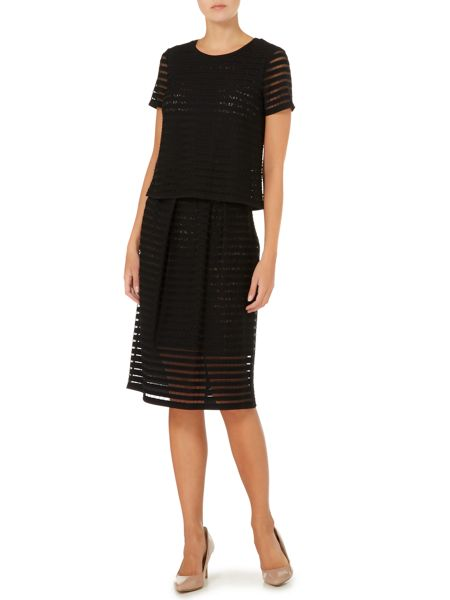 Max Mara Slogan stipe mesh skirt with lace underlay