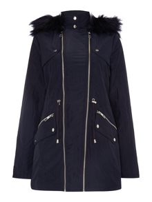 Lipsy Michelle Keegan Double Zip Parka Fur Hood Coat