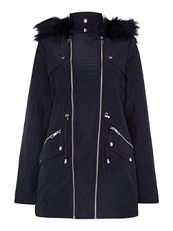Michelle Keegan Double Zip Parka Fur Hood Coat