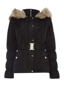 Michelle Keegan Long Sleeved Quilted Padded Coat