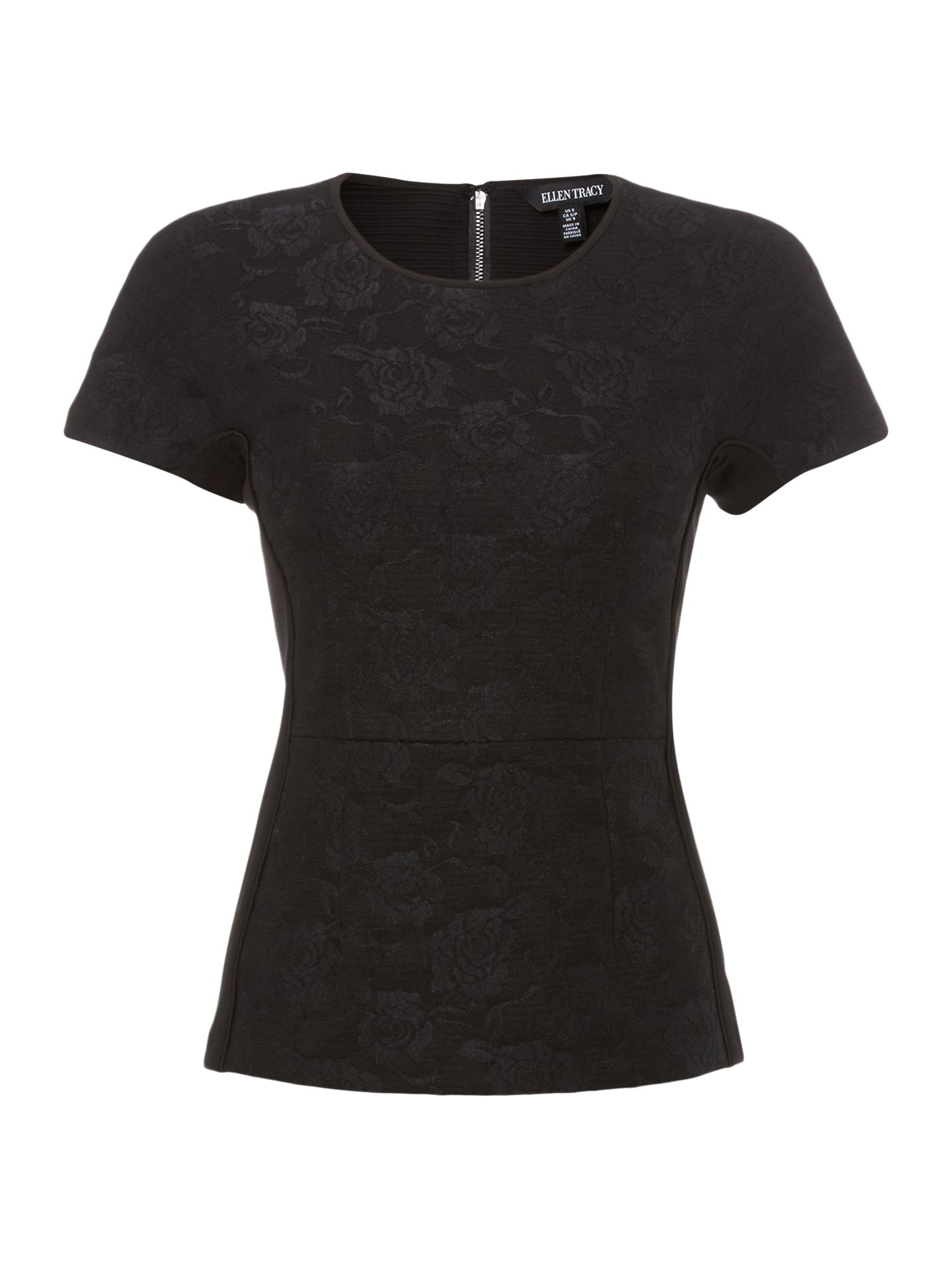 Ellen Tracy Ellen Tracy Bonded lace top with piping, Black