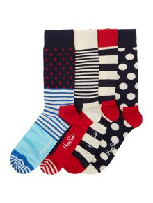 4 pack of multi coloured patterned socks