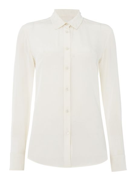 Max Mara Zaira embellished collar long sleeve silk shirt