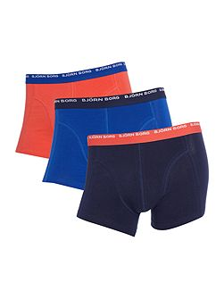 3 pack of solid colour contrast waistband trunks