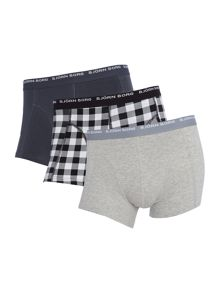 3 pack of check and solid colour trunks