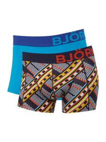Bjorn Borg 2 pack of maasai print and plain trunks