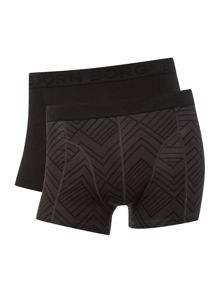 Bjorn Borg 2 pack of tribe square print and plain trunks