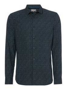 Linea Hart Digital Print Long Sleeve Navy Oxford Shirt