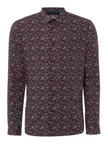 Linea Carr Floral Long Sleeve Print Shirt Burgundy