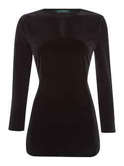 Sandylee 3/4 sleeve top with keyhole detail