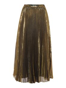 Lauren Ralph Lauren Dayderia metallic pleated midi skirt