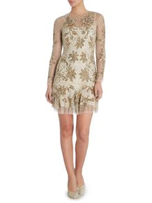 Long sleeve dress with floral embellishment