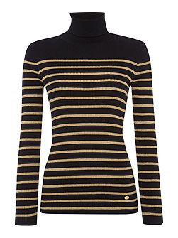 Amanda stripe polo neck jumper