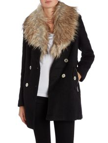 Michelle Keegan Faux Fur Wool Coat