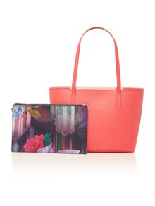 Palmira red zip top small tote bag with pouch