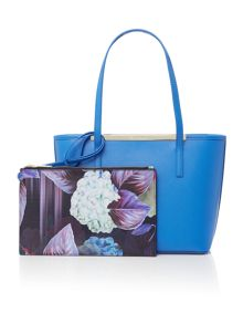 Palmira blue zip top small tote bag with pouch