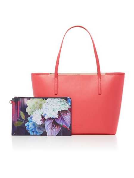 Ted Baker Neylan red zip top large tote bag with pouch
