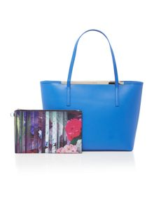 Neylan blue zip top large tote bag with pouch