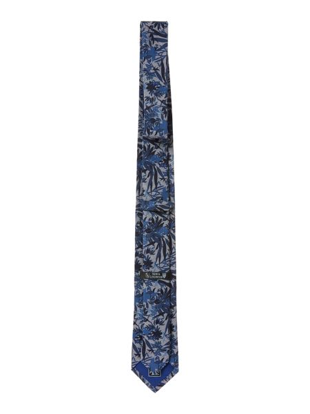 New & Lingwood Northam Jungle floral cotton denim tie