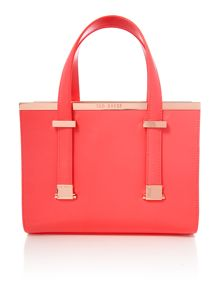 Cristie red metal bar tote bag