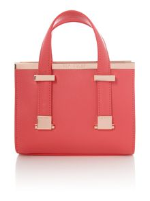 Minibet red small metal bar tote bag