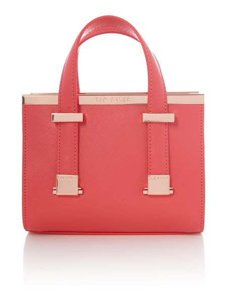 Ted Baker Minibet red small metal bar tote bag