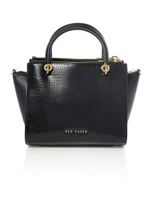 Ted Baker Cassie black croc small zip cross body tote bag