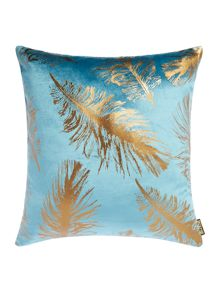 Feather foil print cushion
