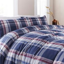 Linea Blue yarn dyed check duvet set