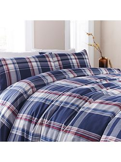 Blue yarn dyed check duvet set