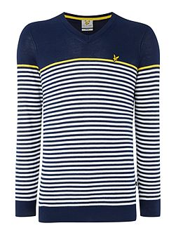 Golf Stripe Cotton V- Neck Jumper
