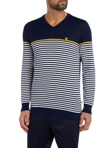 Lyle and Scott Golf Stripe Cotton V- Neck Jumper