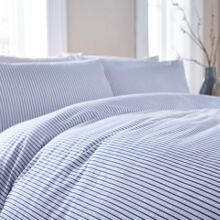 Linea Blue seersucker stripe duvet set