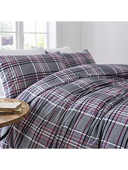 Plum check duvet set