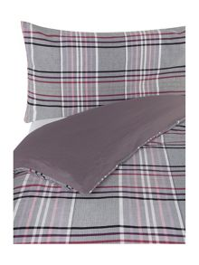 Linea Plum check duvet set