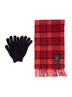Tartan scarf and lambswool glove gift box