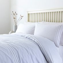 Linea White ladder stitch duvet cover set