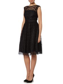 Broderie lace fit and flare dress