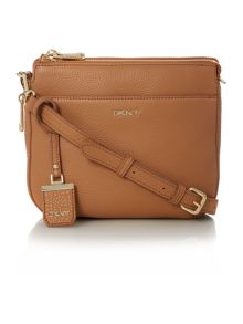 DKNY Tribeca light tan double zip rounded cross body