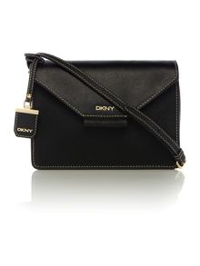 Saffiano black flap over cross body