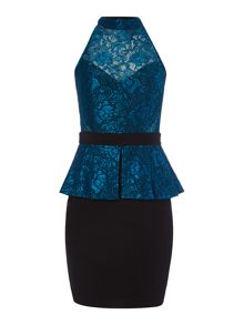 Lipsy Michelle Keeegan High Neck Peplum Dress