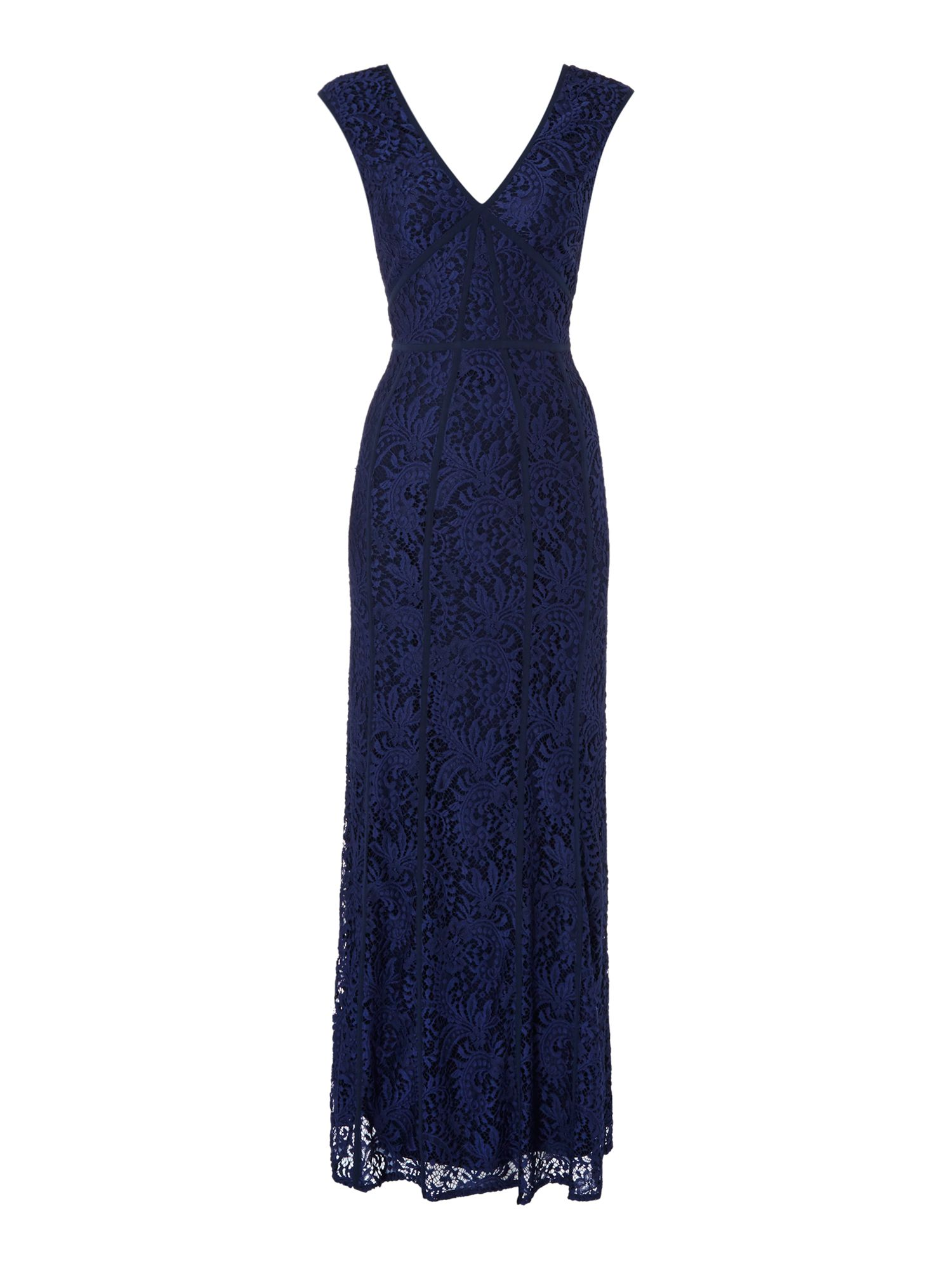 Shubette Lace V neck gown with piping detail, Blue