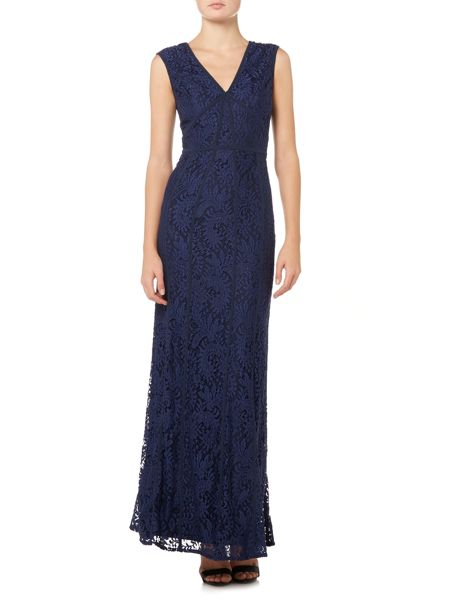 Shubette Lace V neck gown with piping detail