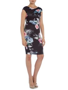 Cap Sleeve Floral Bodycon Dress