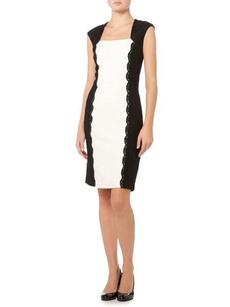 Shubette Sleeveless ribbed bodycon with lace piping