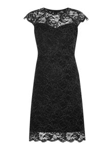 Cap Sleeve Glitter Lace Dress